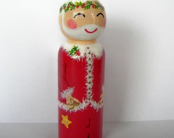 Hand Painted Love Boxes Santa Claus Christmas Peg Doll Wood