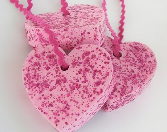 Hand Painted Love Boxes Pink Glitter Valentine Heart Ornaments Set of 3