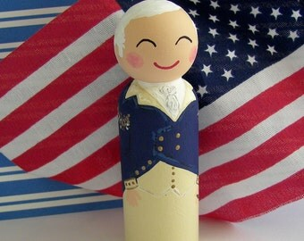 Hand Painted Love Boxes George Washington President General Portrait Peg Doll Wood