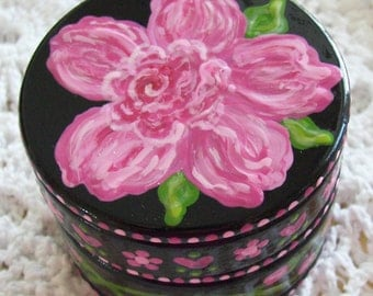 Hand Painted Love Boxes Pink Roses Box Wood