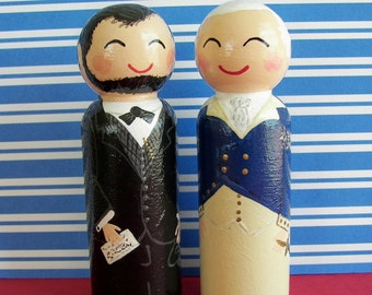 Hand Painted Love Boxes President Abraham Lincoln George Washington Portrait Peg Doll Wood