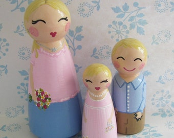 Hand Painted Love Boxes Custom Family of Three Wood Peg Dolls