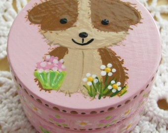 Hand Painted Love Boxes Dog Box Pink Wood