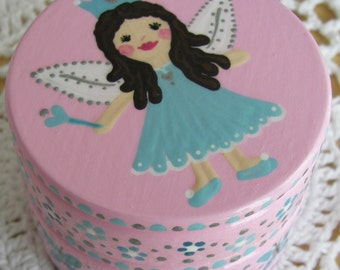 Hand Painted Love Boxes Fairy Princess Angel Blue Box Wood