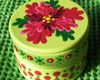 Hand Painted Love Boxes Poinsettia Christmas Box Wood