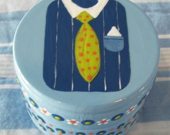 SALE Fathers Day Shirt and Tie Trinket Box Wood