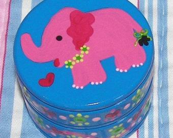 Hand Painted Blue Pink Elephant Trinket Box Wood