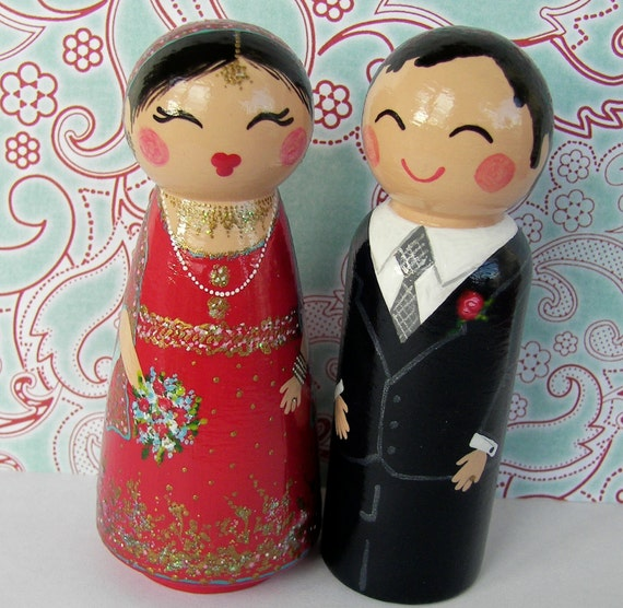 indian wedding cake dolls painted boxes custom indian wedding and groom 16414