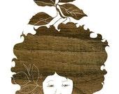 Silhouette Garden, Faux Bois Natural Hair Illustration Art Print