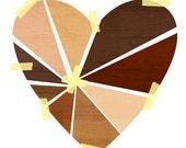 Mending Hearts,  Art Print (Faux Bois Love Illustration)