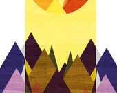 Morning, Mountain Art Print (Purple Mountain, Golden Sun, Geometric Illustration), 5x7, 8x10, 11x14