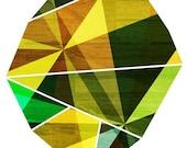 Emerald, Green Geometric Art // Abstract Print // Prism Rock Illustration // 5x7,  8x10,  11x14