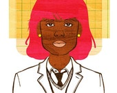 Yearbook Tina Print (Pink Hair African American Woman, Portrait Illustration)