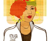 Yearbook Toni (Portrait), Art Print, 1980s Hip Hop Illustration
