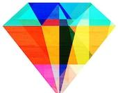 Jewel Tone II, Geometric Diamond Art Print, 5x7, 8x10, 11x14