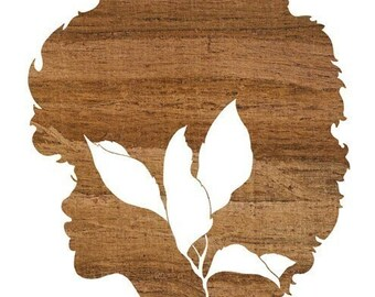 Naturally, Faux Bois Natural Hair Girl and Leaf Silhouette Art Print