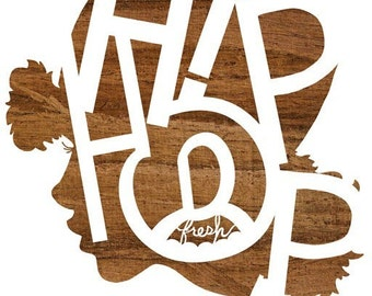 Lady MC Silhouette, Art ( Brown Wood Hip Hop Typography Print) 5x7, 8x10, 11x14