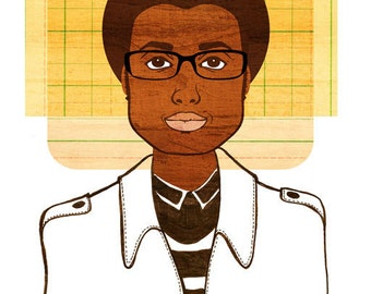 Yearbook William Print, (African American Teen Boy Art, Retro Afro Illustration)