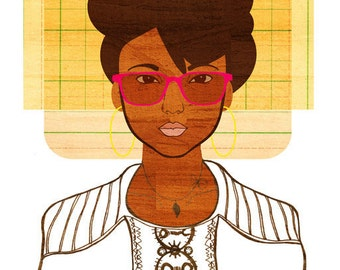 Yearbook Peggy Art (African American Women's Fashion Illustration, Black Student Print)