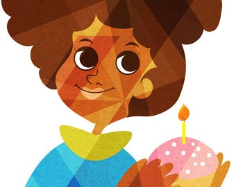 Birthday Girl Strawberry (Brown Skin Girl and Cupcake Portrait),  Art Print for Girls and Tweens, 5x7, 8x10, 11x14