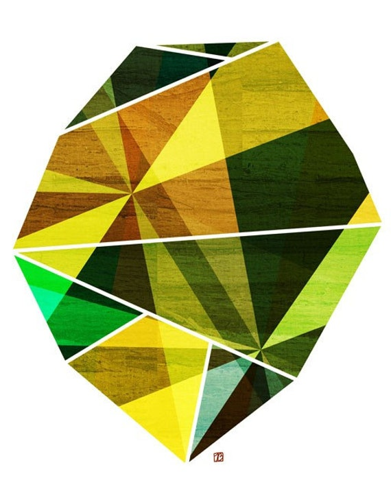 Emerald Green Geometric Art // Abstract Print // Prism Rock