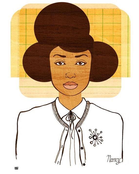 Yearbook Nancy Art Print, (African American Women's Fashion and Natural Hair Illustration) 5x7, 8x10, 11x14