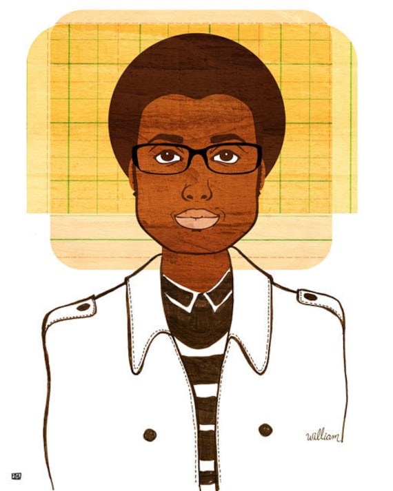 Yearbook William Print, (African American Teen Boy Art, Retro Afro Illustration)
