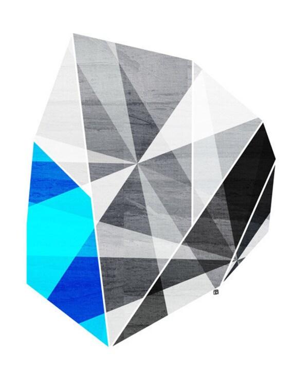Graphite, Gray Geometric  Art Print (Abstract Iceberg Illustration), 5x7, 8x10, 11x14