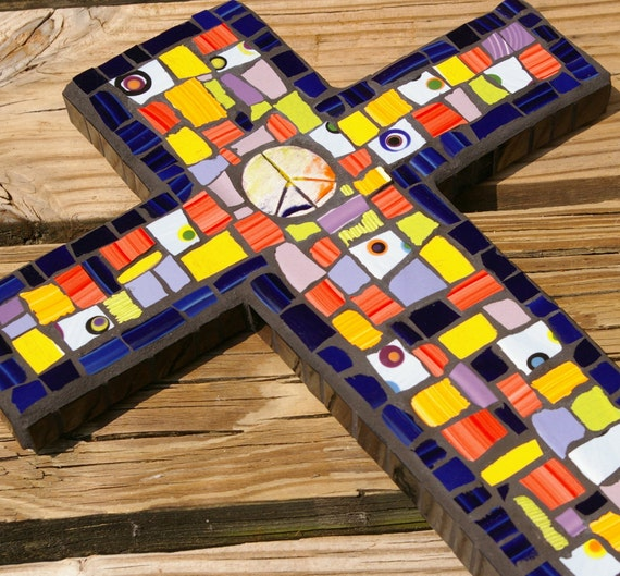 Mosaic Cross Peace Center Mixed Broken China by Red Crow Arts