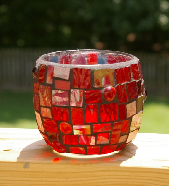 Candle Holder Medium Sized Stained Glass Mosaic by Red Crow Arts