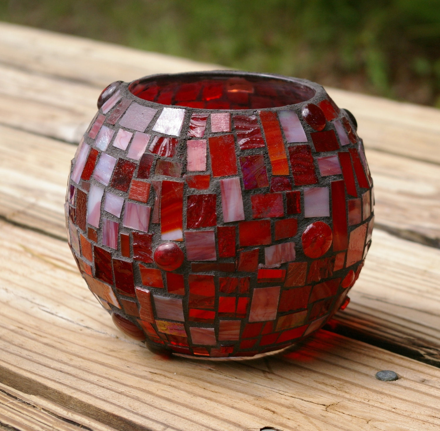 candle holder extra large stained glass mosaic vase by red. Black Bedroom Furniture Sets. Home Design Ideas