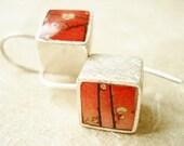 sterling silver cube earrings-satin finish-red lllustration-japanese detail