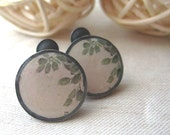sterling silver sat earrings green leaves -oxidized- round -post