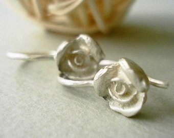sterling silver little rose earrings-matte-dangle earrings