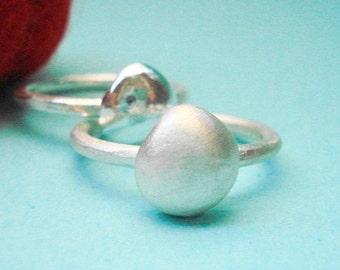 sterling silver matte silverdrop ring -pebble