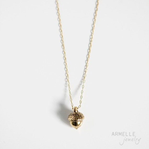 Items similar to acorn charm necklace gold plated chain for Acorn necklace craft