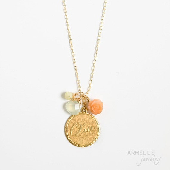 oui gold necklace  .  new jade . coral rose  .