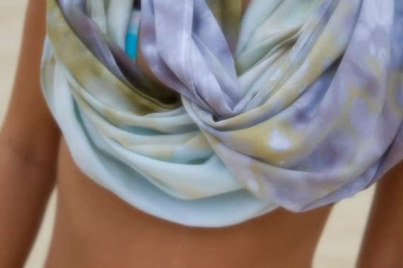 BALI CIRCLE SCARF in Olive Drab, Sea Foam, Blue Gray