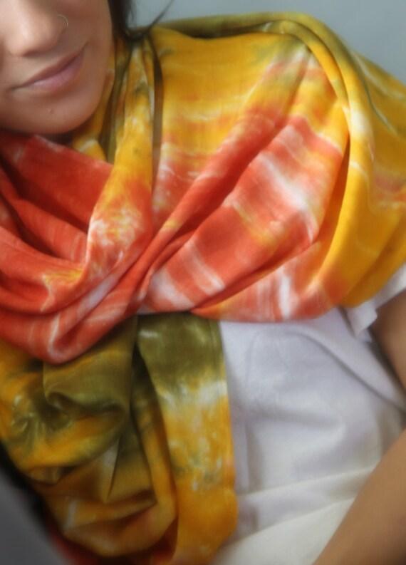 BALI CIRCLE SCARF in Marigold, Rust Orange, & Moss Green