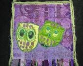 Love Birds - Purple and Green Owl Fiber Fabric Art- Art Quilt-Wall Hanging-OOAK