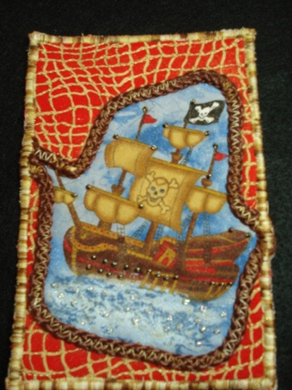 Set Sail-Pirate-Quilted Postcard\/Mini-Art Quilt-OOAK