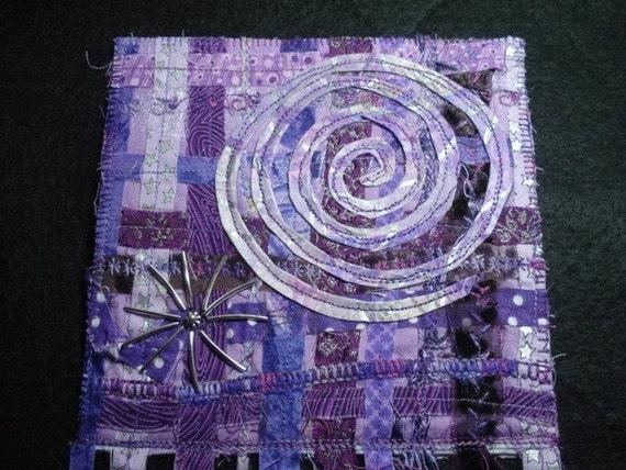 Amethyst Dream-Starburst Quilted Fabric/Fiber Art Quilt-OOAK