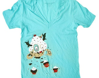 Cupcake Monster T-Shirt - XLarge V-neck