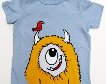 Kid's Monster T-Shirt - Light Blue with Yellow Monster size 6T