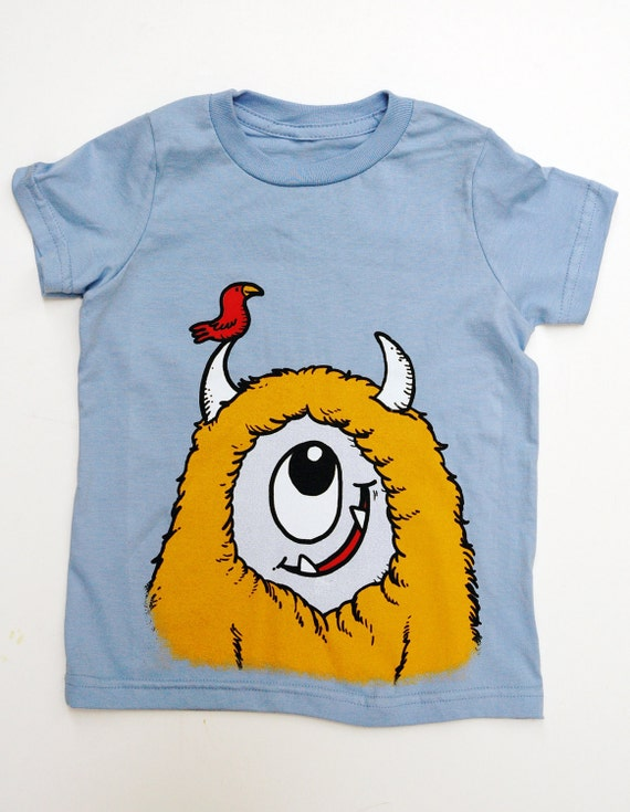 Kid's Monster T-Shirt - Light Blue with Yellow Monster size 10