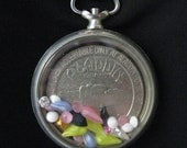 Pocket watch locket shaker Vegas meets Russia REVERSIBLE for 2 Different Looks