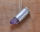 Crystal Bullet necklace  Amethyst .45 Auto bullet shell necklace Sterling Silver chain OOPS SALE -