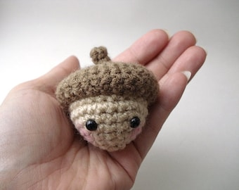 Haycorn - Amigurumi Acorn with Removable Cap with Keychain or Ornament Options