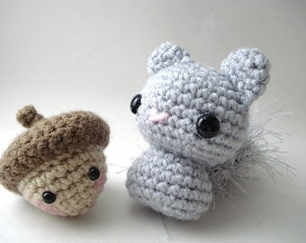 Grey Squirrelie - Amigurumi Gray Squirrel Doll