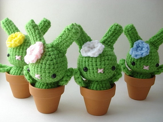 Etsy Amigurumi Cactus : Items similar to Flower Moon Bun - Amigurumi Bunny Rabbit ...